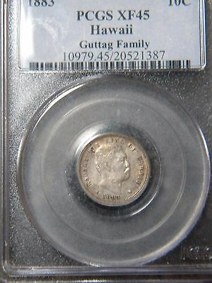 1883 HAWAII 10c***GUTTAG FAMILY***PCGS GRADED TO XF45 CONDITION          BEE
