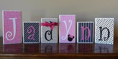 Personalized Name Letter Blocks - Minnie Mouse - Home Decor