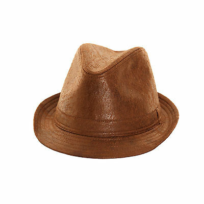 Quality Worn Leather Look Trilby Hat 3 sizes  2 colours, fast post