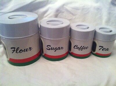 Vintage Round Tin Canister Set Of 4, 1950s White Red Green Striped,Peek Window
