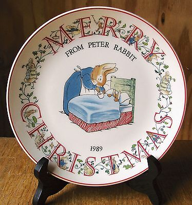 Wedgwood Etruria Barlaston England Peter Rabbit Merry Christmas 1989 Plate EXC
