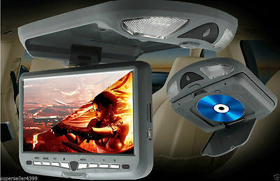 Gray Grey 9'' LCD Overhead Flip Down Car DVD Player Game TV Monitor Roof Mount