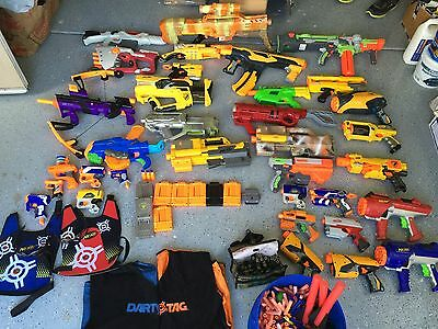 HUGE LOT OF 30 NERF GUNS (SOME RARE CAMO MODIFIED GUNS)AND ACCESORIES