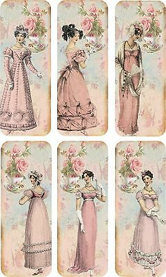 Vintage inspired bookmarks Jane Austen with silk ribbons set of 6 Tea Time