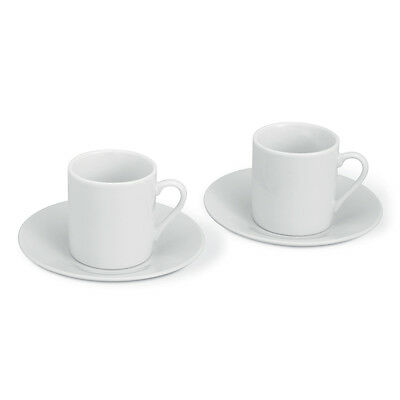 2 Cup & Saucer Plain White Espresso Coffee Set -Easter Gift Kitchen Home Present