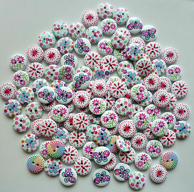 80 x 15mm MIXED BRIGHT WOODEN BUTTONS SCRAPBOOKING SEWING CRAFT CARD MAKING