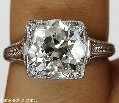 3.02CT ANTIQUE VINTAGE OLD EUROPEAN  DIAMOND ENGAGEMENT WEDDING RING PLA EGL USA