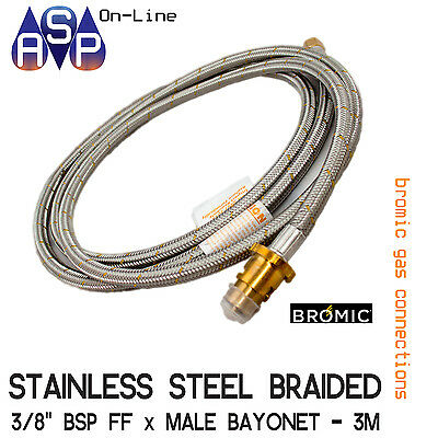 3Mtr Stainless Steel Braided Gas Hose 3/8 Bsp W/ Bayonet Coupling Natural & Lpg