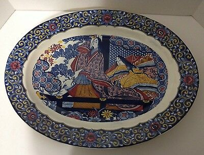 VERY LARGE COLORFUL VINTAGE JAPANESE OVAL SERVING PLATTER ORIENTAL DESIGN