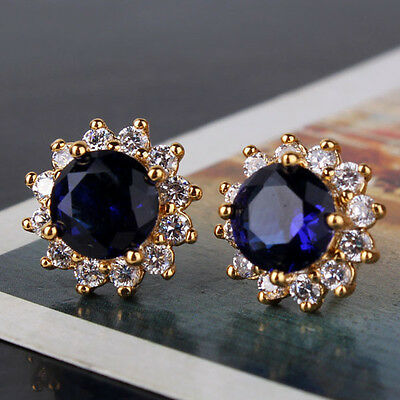 Vintage antique 24K yellow gold filled gracious Dazzling lady sapphire earring