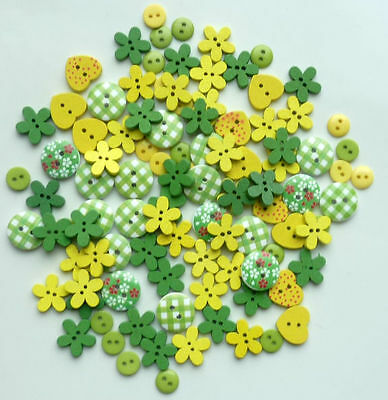 150 X Mix Wooden & Resin Buttons Scrapbooking Sewing Craft Card Making Yellow