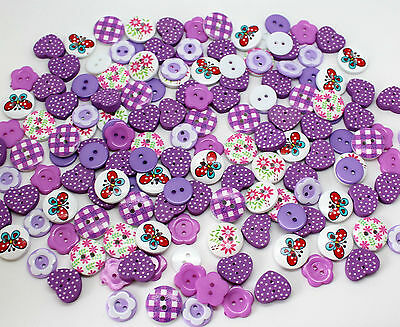 150 X Purple Mixed Wood & Resin Buttons Scrapbooking Sewing Craft Card Making