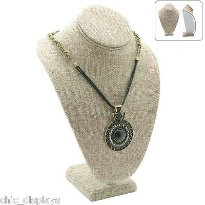 """MODERN BURLAP NECKLACE DISPLAY BUST 11"""" Tall SHOWCASE DISPLAY JEWELRY BUST STAND"""