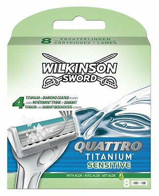 Wilkinson Sword Quattro Titanium Sensitive Mens Razor Blades 8 Pack Genuine