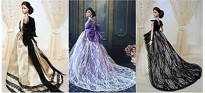 3 PCS Fashion Royalty Princess Party Dress/Evening Clothes/Gown For 11.5in.Doll