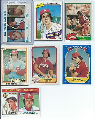 Bob Boone Phillies Lot of (7) Different w/ 1973 Topps High Number Rookie RC #613
