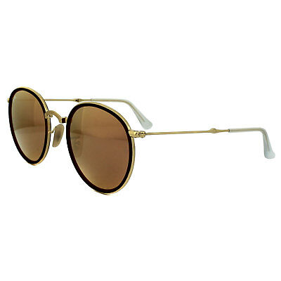 eb2facfdffb RAY-BAN SUNGLASSES ROUND Folding 3517 001 Z2 Gold Copper Mirror ...