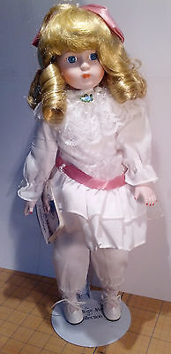 """Heritage Mint America's Doll Porcelain, White with Pink, Blond Hair 16"""" w/stand"""