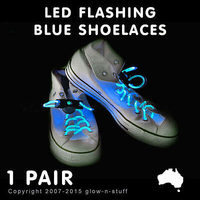 1 X Flashing Led Blue Shoelaces Light Up Shoe Lace Pair Glow In Dark Party Run