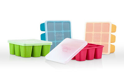 New Nuby Garden Fresh Silicone Freezer Tray & Lid Baby Food Storage 4 Colours