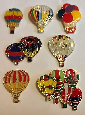 Lot of 7 Different Hot Air Balloon Hat Lapel Pins - new colorful race basket
