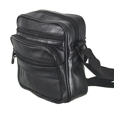 New Leather Messenger / Shoulder Bag Black Travel Utility Ladies Mens Handbag