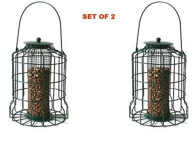 Set Of 2 Metal Squirrel Proof Bird Feeder Hanging Caged Guard Nut Feeder Lantern