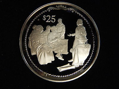 """1992 Virgin Islands $25 Silver Proof """"Discovery Of America By Columbus"""""""
