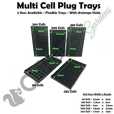 84, 180, 286, 432, 576 Multi Cell Plug Trays Propagation Seed Tray Hydroponics