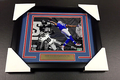 ODELL BECKHAM FRAMED 8x10 PHOTO AUTOGRAPHED NEW YORK GIANTS THE CATCH JSA COA