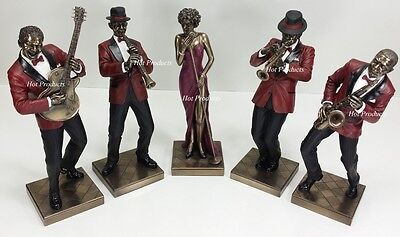 5 PC - JAZZ BAND COLLECTION SINGER SAXOPHONE GUITAR TRUMPET CLARINET Statue