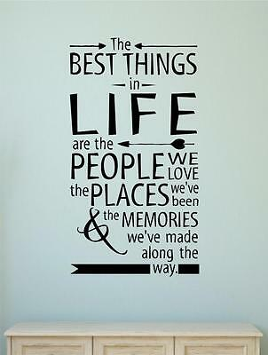 The Best Things In Life Vinyl Decal Wall Decor Sticker Words Lettering Quote Art