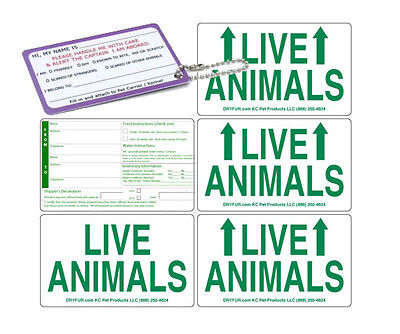 Live Animal Crate Sticker Labels - Set of 5