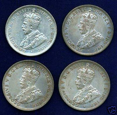 AUSTRALIA  GEORGE V  1917-M  1 FLORIN  SILVER COINS, GROUP LOT OF (4)