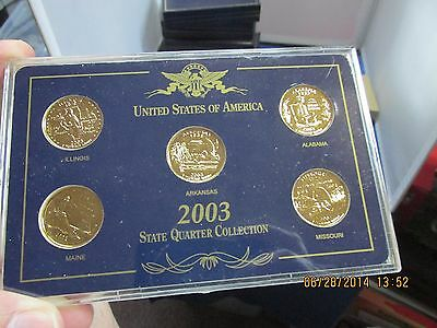 24K Gold Plated 2003 State Quarter Set in Nice Holder  Beautiful Coins!
