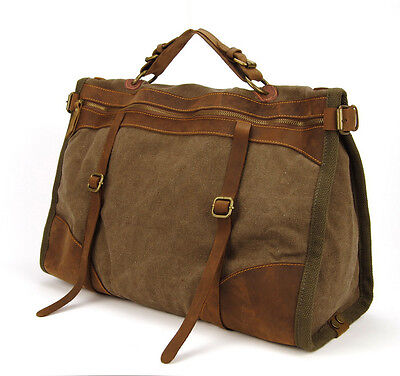 Vintage Retro military Canvas Leather men travel bags tote weekend luggage bag 3