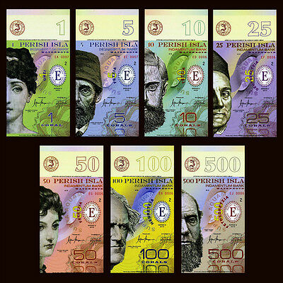 SET Perish Island 2015 Polymer 7 Note Set, UNC, Vertical Orientation
