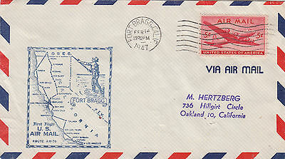 (41682) CLEARANCE USA Cover Airmail 1st Flight AM76 Fort Bragg Calif 14 Feb 1947