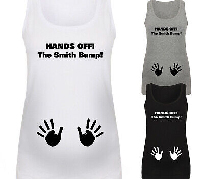 Personalised Hands Off The Bump Designer Maternity Vest Top Baby Shower Gift
