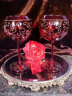 Pair GREAT Toasting Ruby Red Balloon Wine Glasses RAISED GOLD HP SCROLLS Italy!