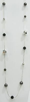 Body Central Silver Tone Faux Pearl Onxy Faceted Bead Station Necklace