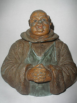 Antique Figural Inkwell Jolly Monk or Friar Great  Detail cold painted