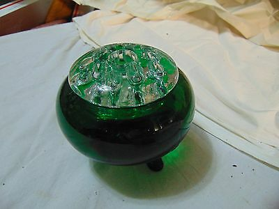 """Viking Glass """"Flowerlite"""" 3 Footed Bowl Evergreen """"Candlelite""""  Frog Mid Century"""