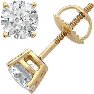 Mens Ladies Yellow Gold Finish Round Cut Lab Diamond Earring Stud Solitaire