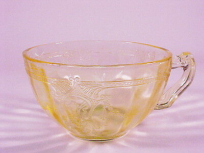 Vintage Yellow Cameo Cup / 12 Available / Hocking Glass Co