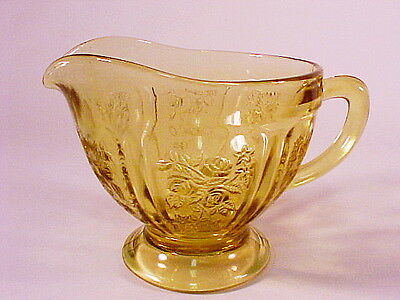 Vintage Amber Sharon - Cabbage Rose Footed Creamer / Federal Glass Co