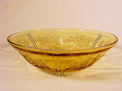 "Vintage Amber Sharon - Cabbage Rose 8"" Bowl  / Federal Glass Co"