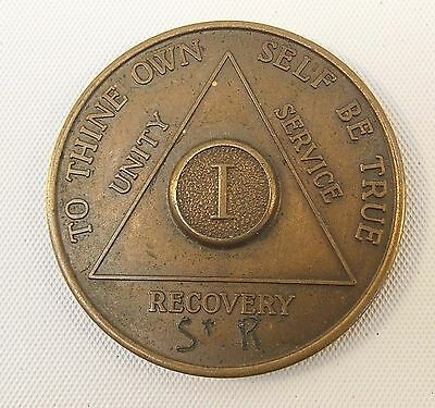 Vintage AA Alcoholics Anonymous 1 Year Token AA BACK (Initials Engraved) I One