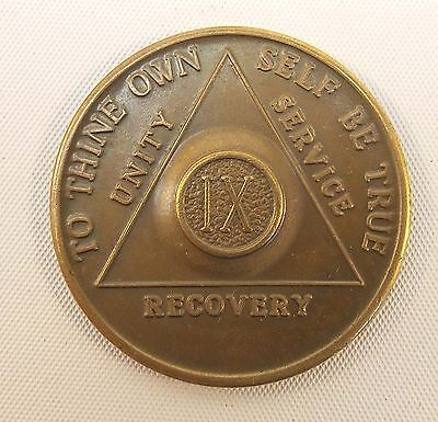 Vintage AA Alcoholics Anonymous 9 Year Token AA BACK,  IX,  Nine Years Sober