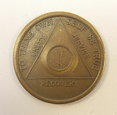 Vintage AA Alcoholics Anonymous 5 Year Token AA BACK,  V,  Five Years Sober